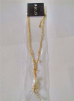 Bijoux gold tone pearl/clear bead necklace (Code 2364)